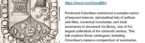April 9 | Ferdinand Columbus' Library Catalogues (Seth Kimmel)
